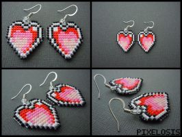 Handmade Seed Bead Heart Container Earrings by Pixelosis