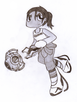 Chell and Wheatley by SalemTheCat23