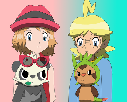 Chespin and Pancham with Clemont and Serena by PokemonXYLover1998