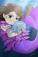A Mermaid and Grimpoteuthis by LegacyArtist
