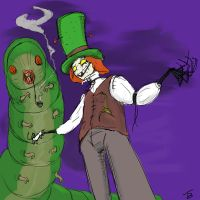 Mad Hatter and Caterpillar by TicklishSocks