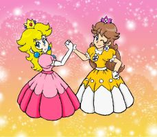 Contest-Old School Peach and Daisy by LilacPhoenix