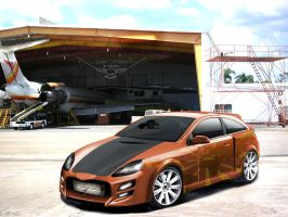 Opel Astra GTC behind Hangar by TheAlessandro