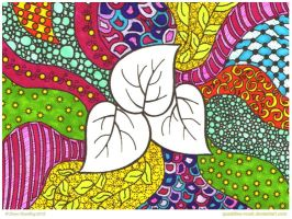Leaves Zentangle Collab by Quaddles-Roost