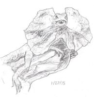 Frilled Lizard Sketch 1-27-15 by Collidoscope