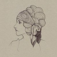Woman in Profile with Scarf by Bit-sinna