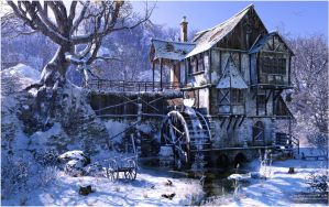 watermill-in-winter-mood by Lars Braad Andersen by DAZ-3D