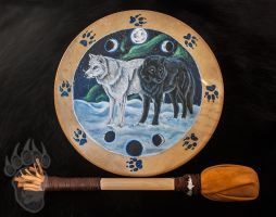 Black Wolf White Wolf Drum by Illuminaiae
