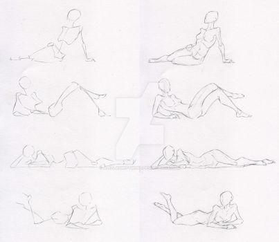 Sketches 50 - Woman laying-sitting practice by AzizlaSwiftwind