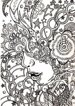 Trippy Coloring book page by ambercamiart