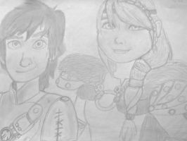 Hiccup and Astrid by nani-vica