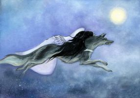 Luthien and Huan.Across the night by Ephaistien