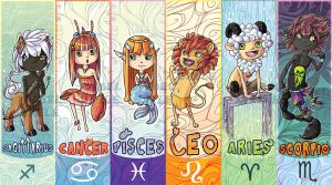 Chibi Zodiac Bookmarks part1 by tikopets
