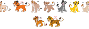 Lion Cub Adoptables 2 LEFTOVERS 6 LEFT by KawaiiAdopts17