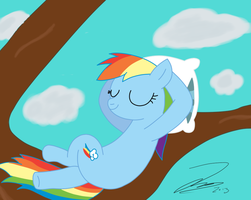 :RQ: Rainbow Dash Relaxing by iamthemanwithglasses