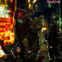 Raphael And Casey Jones fighting crime. by mady182