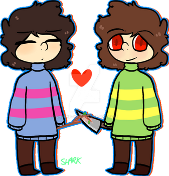 Frisk and Chara by FlannelThemedDonuts