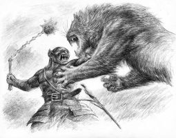 Orc fighting Lion by TurnerMohan