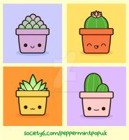 Kawaii succulents and cati illustrations-Society6 by peppermint-pop-uk