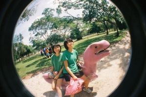 pink dinosaurs by toy-camera