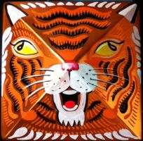 Tiger Head Painting on Copper by hyronomous
