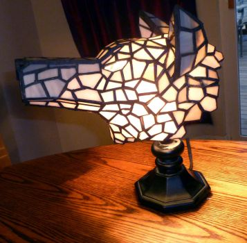 3-Dimensional Wolf Stained Glass Lamp - Lighted by mclanesmemories