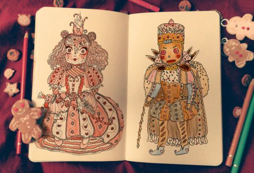 Candy cane Queen and Gingerbread King by jimmyoOO