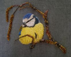 Hand Embroidered Blue Tit Commission by RuthNorbury