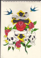 Cross, Roses and Skulls by Stephen-Parry