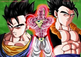 Mega buu vs vegeto et gogeta v2 by Lobox2