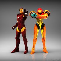 Iron Man X Samus by iheartibuki