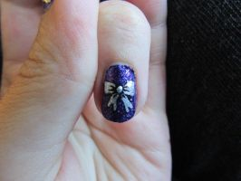 Purple Rocker Nails Bow Close Up by QueenAliceOfAwesome