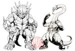 Tyrannos - Styraco and Plesio by KaijuSamurai
