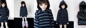 Navy striped hoodie (MSD) by KarenBJD