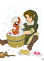 Link and Epona bath time by AmostheArtman