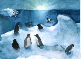Penguins of the Antarctic by AlisaTheArtiste
