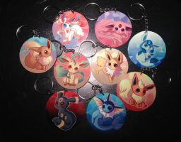 Eeveelution Metal Keychains (For Sale) by Kastraz