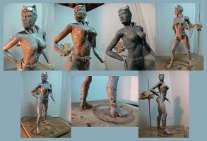 Catwoman sculpture WIP. by Leebea