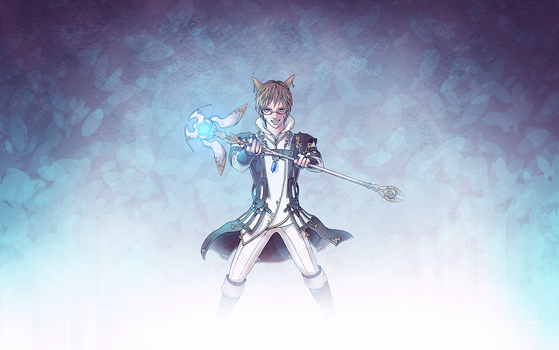 Miqo'te White Mage by linnyxito