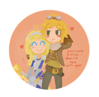 Ezreal and Lux by Chibii-sama