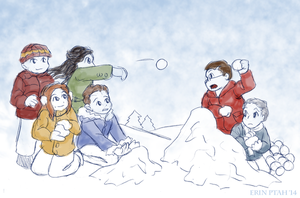 Daily Show Snowball Fight by ErinPtah