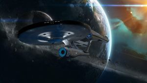 U.S.S. Enterprise NCC-1701 (leaving Orbit) by The-Didact