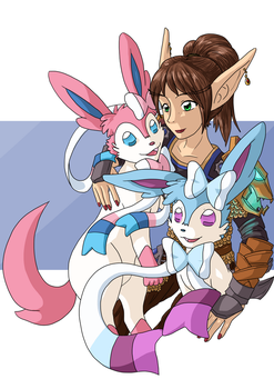 [Gift] Huntress and Sylveons by faeore