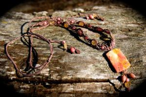 Rhodonite and Citrine Adjustable Healing Necklace by SpectralSun