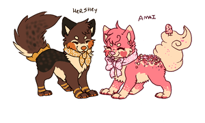 Hershey and Amai references by Toshiko-paws