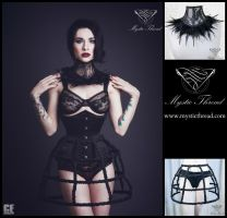 Feathered neck corset and crinoline skirt by mysticthread