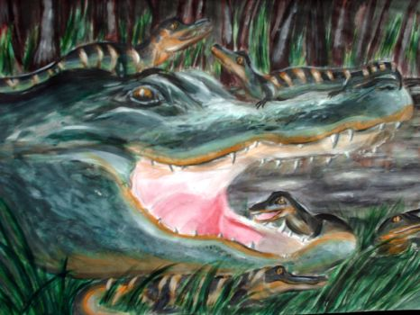 Mother and Child 4_Alligators by German-Blood