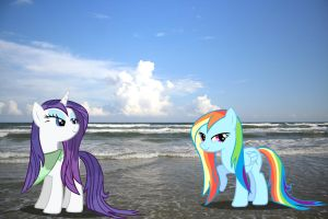 Rarity and Rainbow enjoying the Beach by HAchaosagent