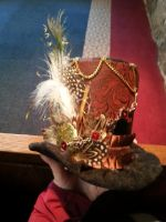 Medium Feathered Clip-on Top Hat. Steam Punk Theme by cathykitcat