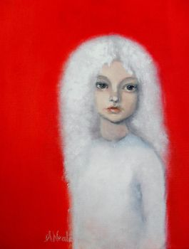 White Haired Girl with Cadium Red Background by amycreammaxbrown